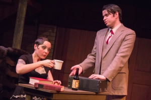 Laura as Sally Bowles and Gary Mackowiak as Clifford Bradshaw in Cabaret--Photo by Brian Bieschke