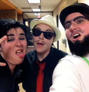 Three drag kings during MCC's second annual Drag Show, Spring 2013