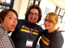 Laura mugs with students Elino and Amanda for the selfie contest