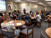 MCC librarian Janet Scott leads a workshop for students and faculty